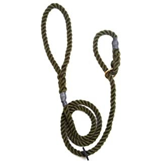 Outhwaite Rope Gun Dog Slip Lead, 8 mm x 60-inch, Olive