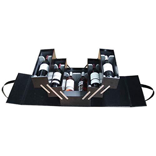 Geschenkbox für Wein, Mehrschichtige große Weinbox für 6 Flaschen Weinhalter Fall tragbare schwarze PU Leder Top Griff Reise Weinkoffer Rotwein Champagner Lagerung Geschenk Verpackung Box für Geburtst (Top Weinregal)