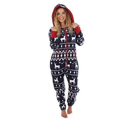 Internet Les Femmes à Manches Longues Dames 3D Elk de Noël Imprimé Jumpsuit Pyjamas à Capuchon Vêtements de Nuit Combinaison (Marine, M)