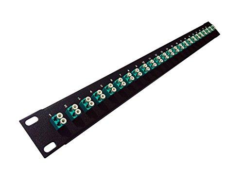 'LC-Faser Patch Panel (19geladen, 1U) 24 Port Aqua Couplers (OM3/OM4 Multimode) - Fiber Optic Connector Panel