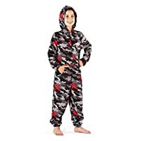 Childrens Boys Camouflage Fleece Hooded All In One Onesie (2 Designs) (11-12 Years) (Black/Red Camouflage)