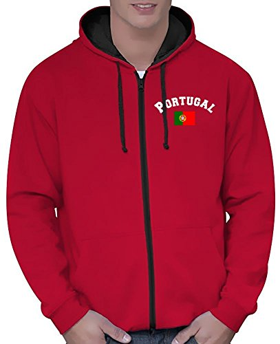 Coole-Fun-T-Shirts Portugal Sweatshirtjacke Varsity Jacke rot-schwarz, Gr.S