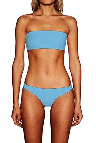 Chicolife Frauen Novettily 2 Stück Bikini Set Halfter Braid Riemchen Bandage Badeanzug Bademode (Net 2 Surf)