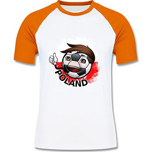 EM 2016 - Frankreich - Fußballjunge Polen - zweifarbiges Baseballshirt für Männer Weiß/Orange