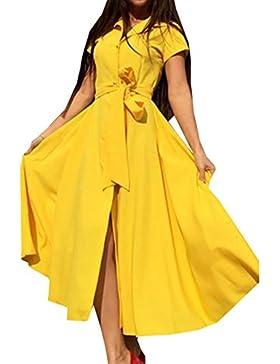 Verano Camiseta Vestido Mujer Bolsillo Manga Corta Casual Loose Maxi vestido Camiseta Vestidos de Botón Cinturón...