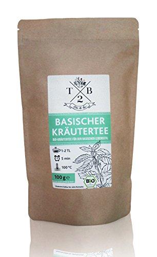 Basischer Kräutertee in Bio-Qualität zur basischen Ernährung mit Brennessel, 100g (Ca. 40 Tassen)  T2B by Sarenius
