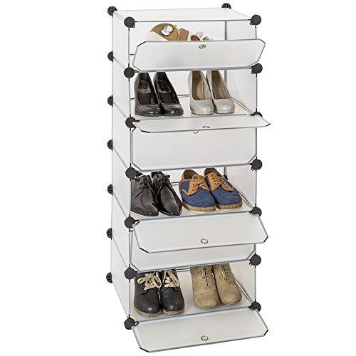 TecTake Estantería de plastico modular ropero organizador zapatos con puertas blanco
