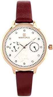 Naviforce Women's White Dial Genuine Leather Analog Watch - NF5003-