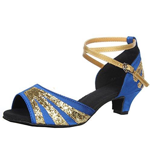 Azbro Women's Open Toe Sequins Cross Strap Latin Dance Shoes Blue