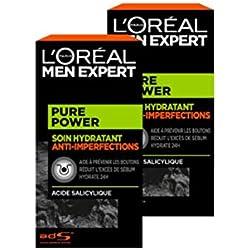 L'Oréal Men Expert - Soin Hydratant Anti-Imperfections pour Homme - Soin du Visage - Pure Power - 50 ml - Lot de 2