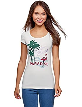 oodji Ultra Mujer Camiseta con Escote en Forma de Gota en La Espalda