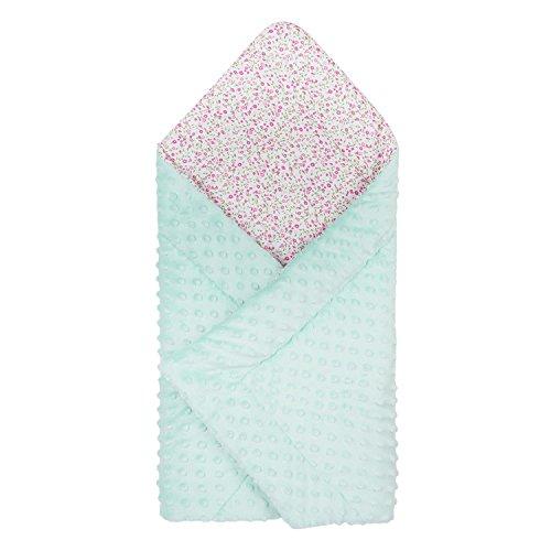 Dkaren Baby Einschlagdecke/Babyhörnchen Babydecke zum Einwickeln 100% Baumwolle und Minky 80x80cm (0-6 Monate) (Minky Aquamarin- Blumen) (Ruhigen Grünen Unisex T-shirt)