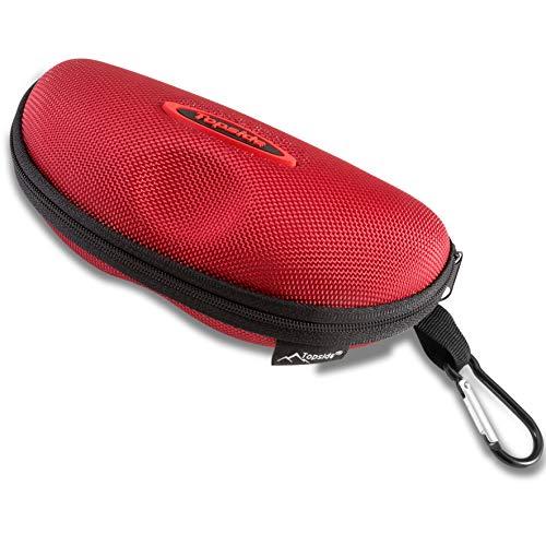 TOPSIDE Brillenetui (Rot) Hardcase stoßabsorbierend mit Reißverschluss - Inkl. Karabinerhaken, Brillenband, Aufbewahrungsbeutel & Mikrofaser-Reinigungstuch