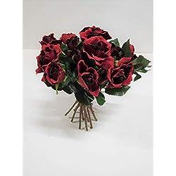 Ziegler Rosenstrauß Stehstrauß Rose Strauß Seidenblume Kunstblume rot 27 cm 2414701 F6