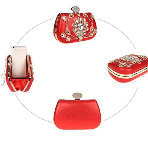 Strawberryer Embrayage à La Main Perle Diamant Sac De Soirée Sac Poignée Décoration De La Robe Portefeuille red