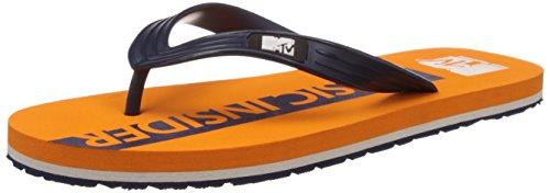 MTV Men's Orange and Navy Blue Flip Flops Thong Sandals - 10 UK