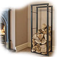 Firewood Log Rack Store Storage Large Small Metal Shelf Stand Tall Steel Black Inside & Outside (H 100 x W 60cm)