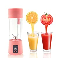 SLC Portable Blender USB Juicer Cup Fruit Mixing Machine Personal Size Electric Rechargeable Juice Mixer Blender Water Bottle 380ml with 6 Blades and USB Charger Cable