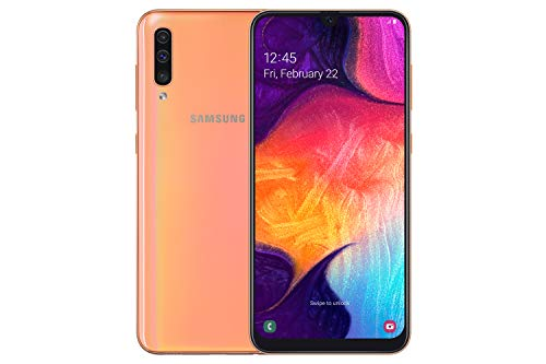 Samsung Galaxy A50 128GB 6.4-Inch FHD+ Android 9 Pie UK Version Dual-SIM Smartphone - Coral Best Price and Cheapest