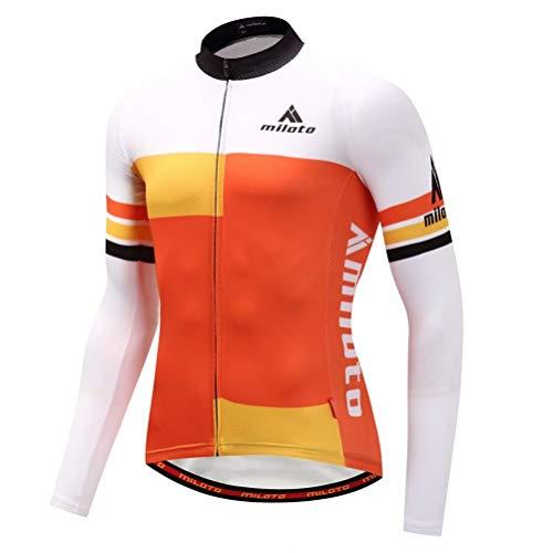 VYES Herren Fahrradtrikot, langärmelig, Mountainbike, Rennrad-Shirt, Strumpfhose, gepolstert, Jakcet Outfit, Herren, Orange Style, S(Asia)