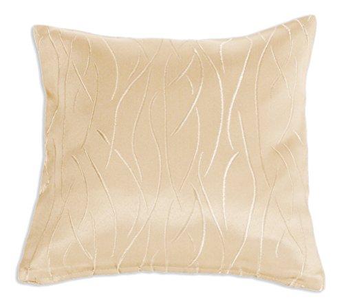 Damast Kissenbezug (Kissenhülle Damast Streifen Muster Kissenbezug 40x40 oder 50x50 cm Kissenbezug Deko modern (beige, 40x40))