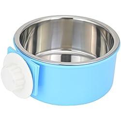 ShareWe Cuencos para Perro Gato Animal Mascotas Acero Inoxidable Platos 2 en 1 Colgando Cuenco Comedero para Gatos Perros Conejos Pequeño Animal Comida y Agua (Azul)