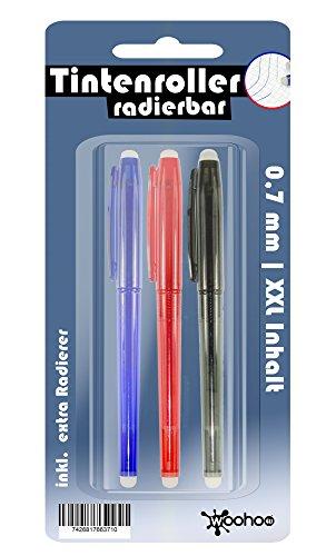 3x-tintenroller-kugelschreiber-radierbar-xxl-fullmenge-2-radierer-rot-blau-schwarz-stift-zum-loschen