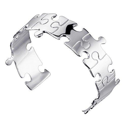 MATERIA Damen Armreif Silber 925 Armspange Puzzle 19mm breit offen verstellbar mit Geschenk-Box #SA-9