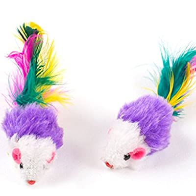 2PCS Furry colorful feather Mouse Cat Kitten Real Fur Gravel Sounds Cute Toy Faux Mice Cat Toys