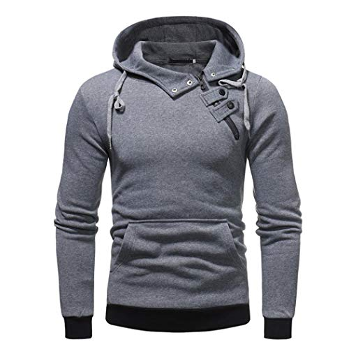 (Sannysis Herren Lässige Herbst Reißverschluss Tasten Tasche Kapuzenpulli Outwear Tops Bluse Sweatshirt)