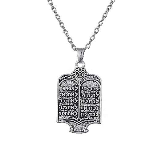 VAWAA Tibetisches Silber Überzogene Jüdische Torarolle 10 Gebote Hebräisch Anhänger Frauen Halsketten Vintage Ethnischen Schmuck