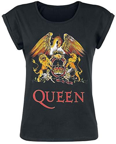 Queen Classic Crest T-Shirt schwarz S (Band-t-shirts Für Frauen)