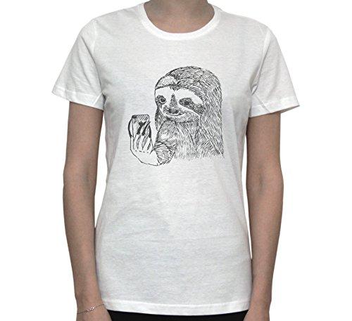 SLOTH Taking Selfie FUNNY Women's T-Shirt Blanc