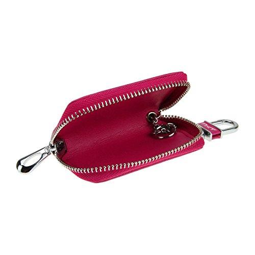 Schlüsseltasche Autoschlüsseltasche Schlüsseletui mit Kroko Design Handarbeit Schlüsselmäppchen Schlüsselbörse Car Key Case Brieftasche für Damen Herren Rosa