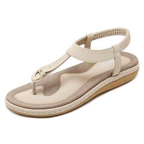 Sandali in Pelle da Donna Estate Walking Clip Toe Wide Fit Flat Comfy Shoes Beach Flat Slippers Taglia Albicocca EU 36