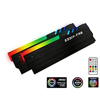 EASYDIY RGB Addressable Memory RAM Cooler DDR Heatsink with Controller For DIY PC Game MOD DDR3 DDR4 (Compatible with ASUS Aura Sync,GIGABYTE RGB Fusion and MSI Mystic Light Sync)-Black-2 Pack