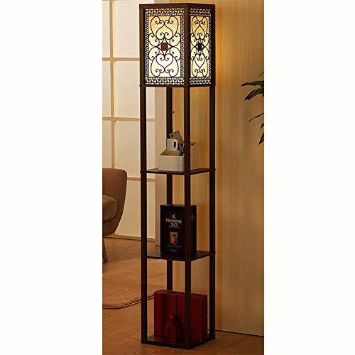 MICHEN Modernes Minimalistisches Regal Der Stehlampe, Das Hölzerne Wohnzimmerschlafzimmerstudien-Nachttischlampenvertikale Verdunkelt,3