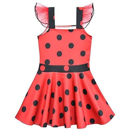 Marienkäfer-Kostüm für Mädchen, mit Rüschen und Ärmeln, für Halloween, Party, für Kleinkinder, Kinder-Partys, rot