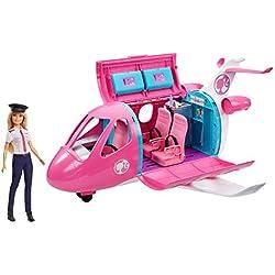 Barbie Mobilier coffret poupée pilote et son Avion de Rêve, avec mobilier, rangements et plus de 15 accessoires, jouet pour enfant, GJB33