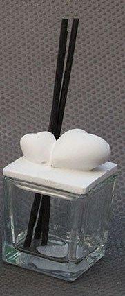 Diffusore di profumo ml 100 vetro/ cuori gesso ceramico/ bastoncini
