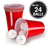 Vivaloo 50-250 Plastikbecher Bierpongset - mit/ohne Bälle, Trinkbecher Red Cups, Rote Beer Pong Becher 473ml