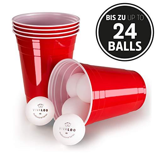 Vivaloo Beer-Pong Plastik-Becher mit bis zu 24 Bällen - Original Red Cups, rote Bierpong Trinkbecher 473 ml, 16 Oz, Party Zubehör