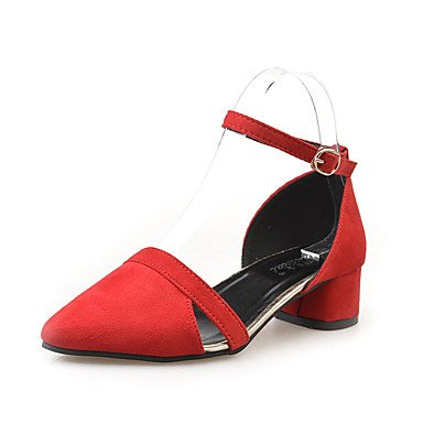 ocasional Sandálias Camurça Vermelho Senhoras preto block Lvyuan Vermelho Conforto Cinza calcanhar wxgqqR54