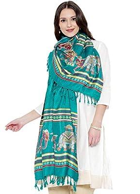 Weavers Villa Women's Soft Viscose Shawl (Green, Free Size)
