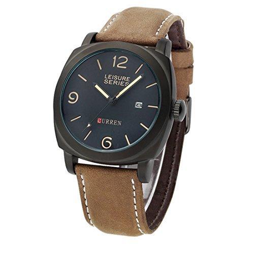 Preisvergleich Produktbild Armbanduhren,  iTECHOR Curren 8158 Herren Analog Quarz Nubuk-Leder-Band-Armbanduhr mit Datumsfunktion - Schwarz + BrownBrown