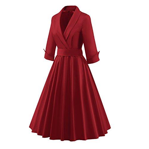 Wealsex 50er Retro Rockabillty Elegant Kleider Damen 3/4 Ärmel kleider mit Gürtel V-Ausschnit Swing Kleid petticoat Rotwein