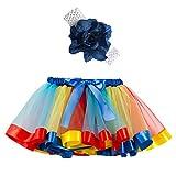 Xmiral Niñas 2Pcs Falda Tutu de Iris Colorido Disfraz Carnaval para Ballet Danza Baile con Diadema de Flor Pettiskirt Costume(Azul,4-6 años)