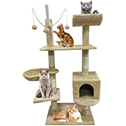 Árbol para Gatos Juguete Rascador para que los Gatos para Relajarse, Jugar y Descansar Color Beige