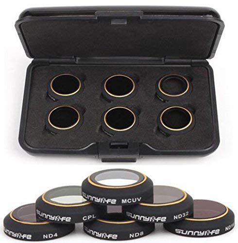 czfriedn Kamera Objektiv-Filter-Set Zubehör 6er Pack für DJI Mavic Pro Drone Quadcopter-ND4+ ND8+ ND16+ ND32+ CPL + MCUV