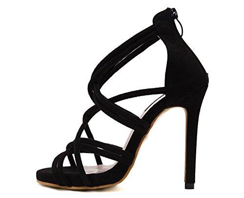 KHSKX-L8.5Cm Chaussures Noires Des Souliers À Talons Hauts Avec Une Amende Bien Des Talons Hauts Des Sandales Des Sandales En Cuir Thirty-eight